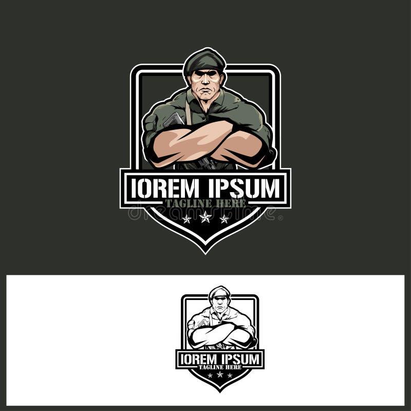 Тема шаблона логотипа вектора армии или солдата военная иллюстрация вектора