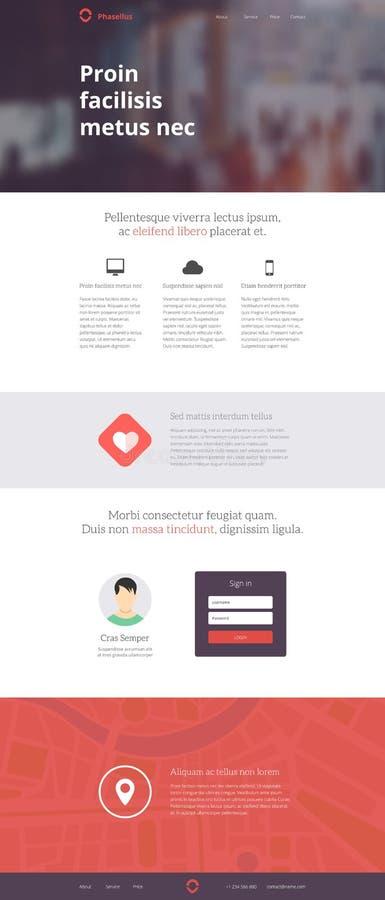 Тема шаблона дизайна вебсайта посадки иллюстрация вектора