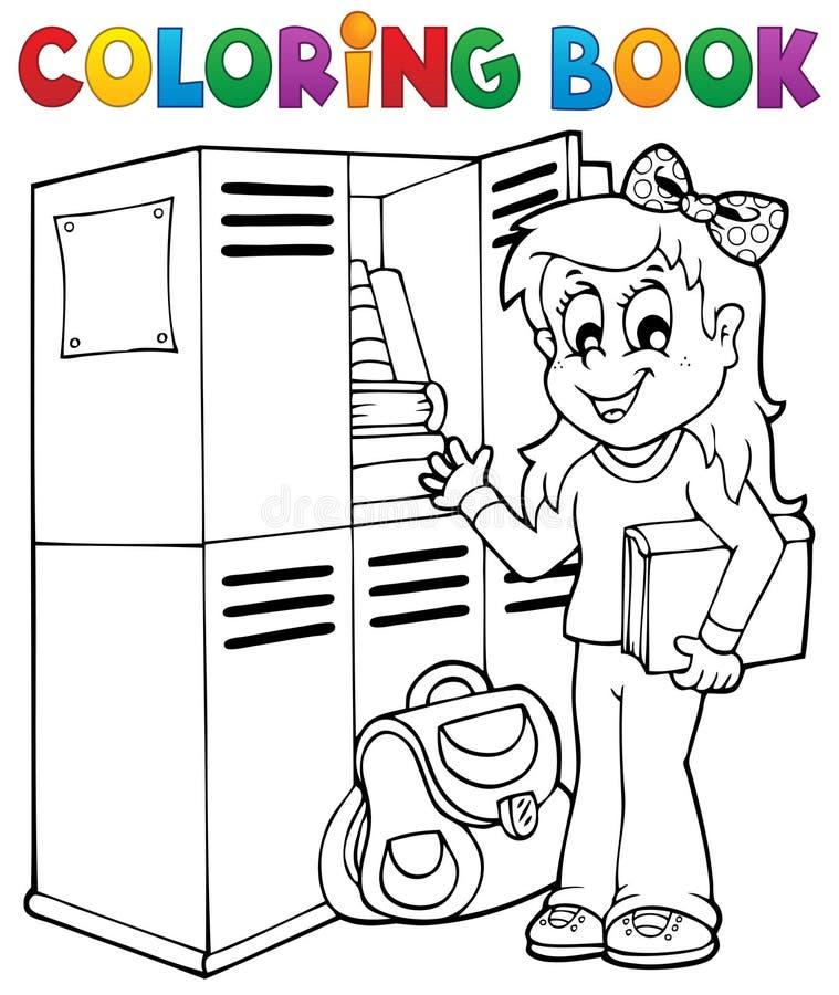 Тема 5 школы книжка-раскраски иллюстрация вектора