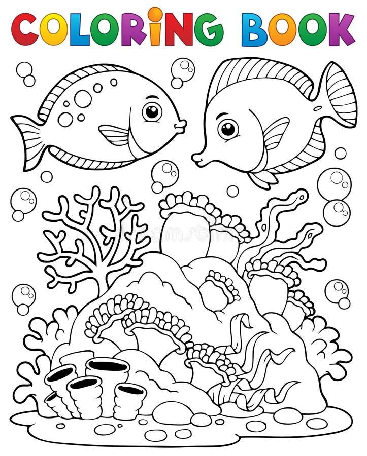 Тема 1 кораллового рифа книги расцветки иллюстрация вектора