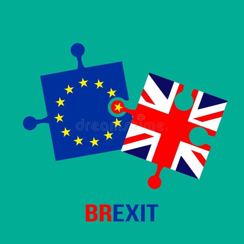 Тема Brexit Флаги озадачивают Европейского союза и Британия не хочет быть совмещенным Плоская иллюстрация вектора иллюстрация вектора