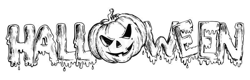 Тема Halloween рисуя 3 иллюстрация вектора