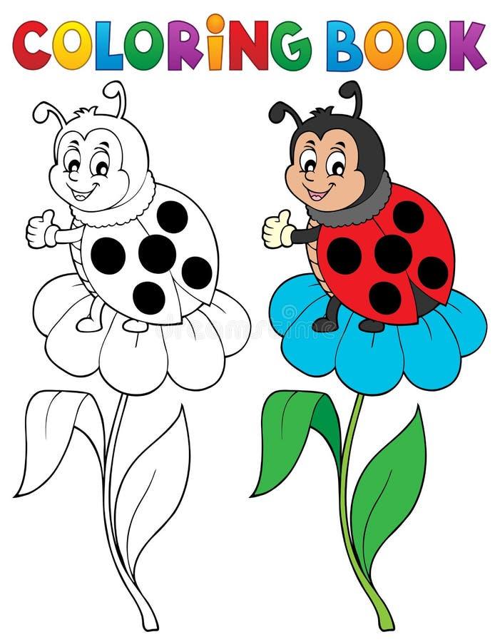 Тема 6 ladybug книжка-раскраски иллюстрация вектора