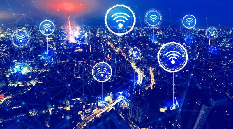 Тема Wifi с видом с воздуха Токио стоковые изображения