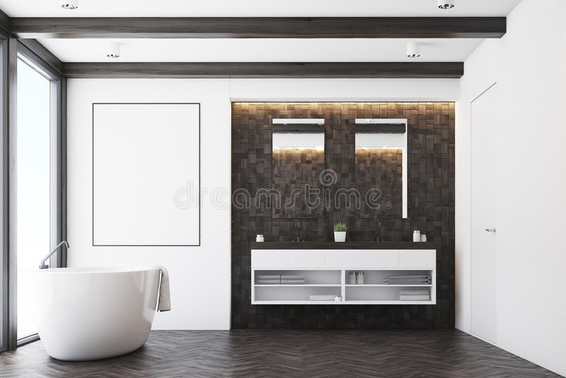 Темная ванная комната плитки, плакат иллюстрация вектора
