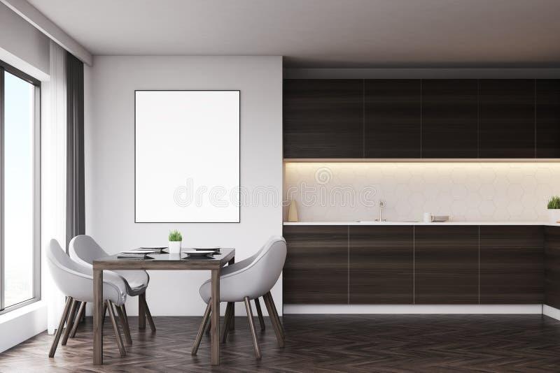 Темная деревянная кухня с таблицей и плакатом иллюстрация штока