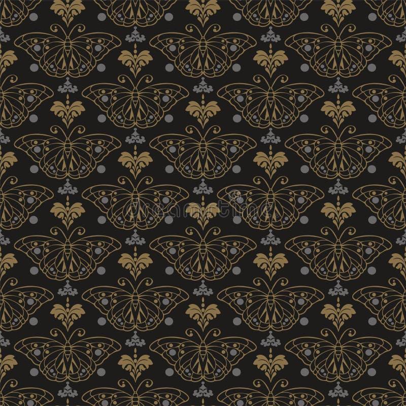 Темная картина предпосылки в ретро фоновом изображении стиля Безшовная картина с бабочкой Текстура обоев иллюстрация вектора