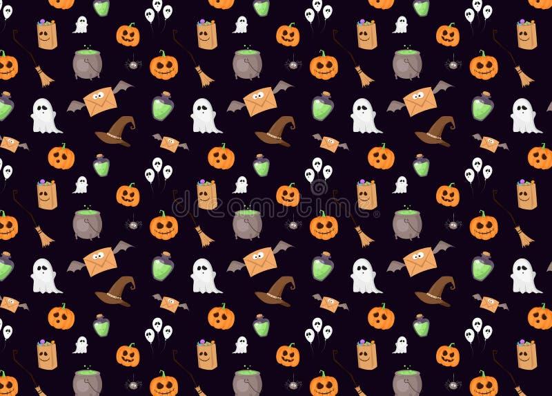 Темная картина с знаками хеллоуина иллюстрация вектора