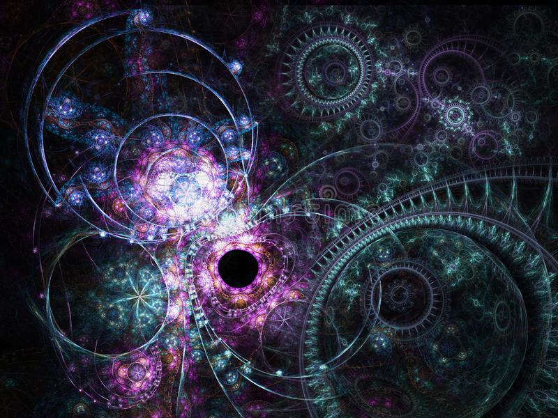 Темная картина clockwork фрактали иллюстрация вектора