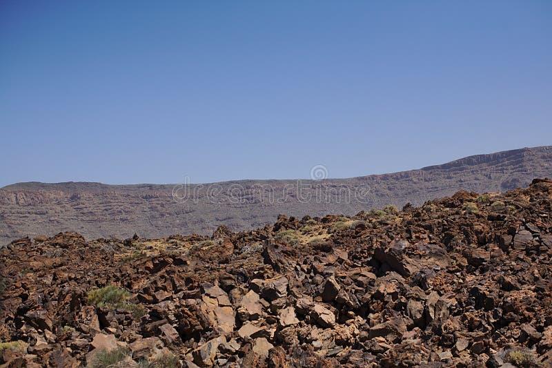 Темная коричневая скала в национальном парке, в горах, ландшафт с заводами, текстура, Тенерифе стоковое фото
