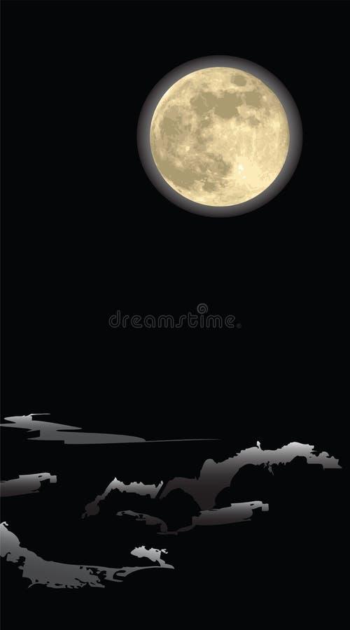 темная ноча луны реалистическая иллюстрация вектора