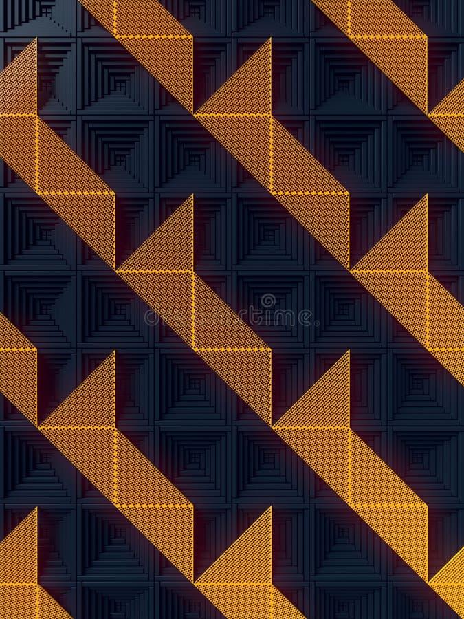 Темная поверхность с картиной оранжевых панелей перевод 3d иллюстрация вектора