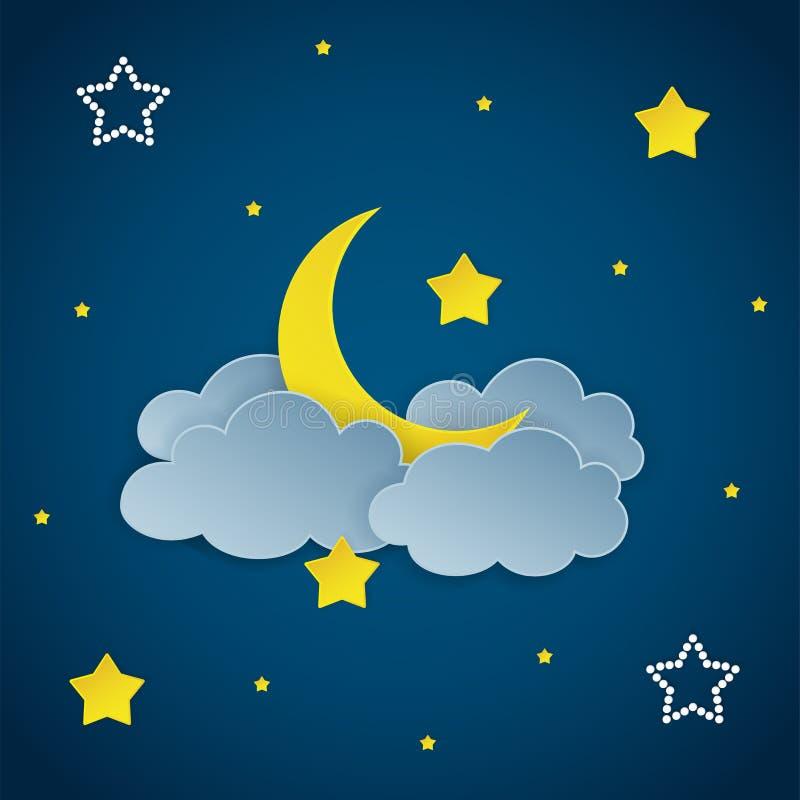 Темная предпосылка ночного неба с облаками, звездами и серповидной луной бесплатная иллюстрация