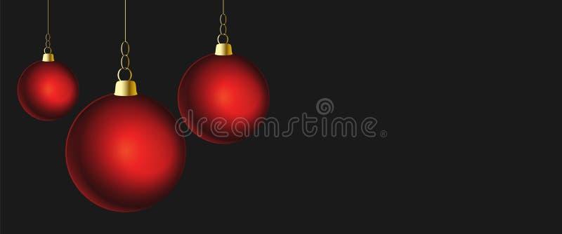 Темная предпосылка рождества с красными шариками бесплатная иллюстрация