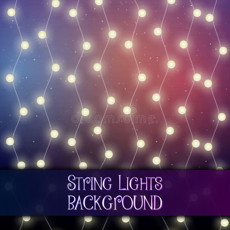 Темная предпосылка с декоративными светами строки Яркие сияющие гирлянды электрических лампочек стоковое фото rf