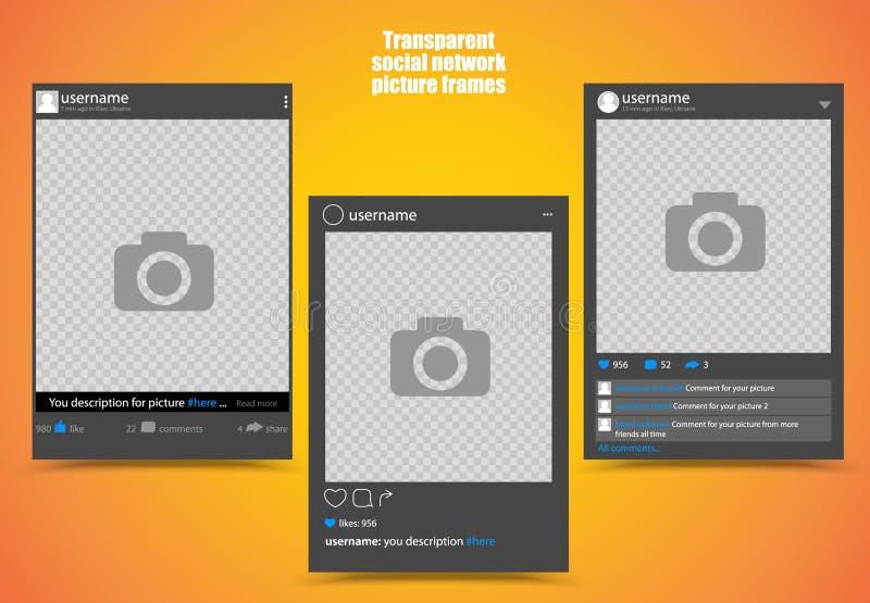 Темная рамка фото для социального изображения сети с яркой предпосылкой оранжевого желтого цвета и прозрачными окнами вектор иллюстрация штока