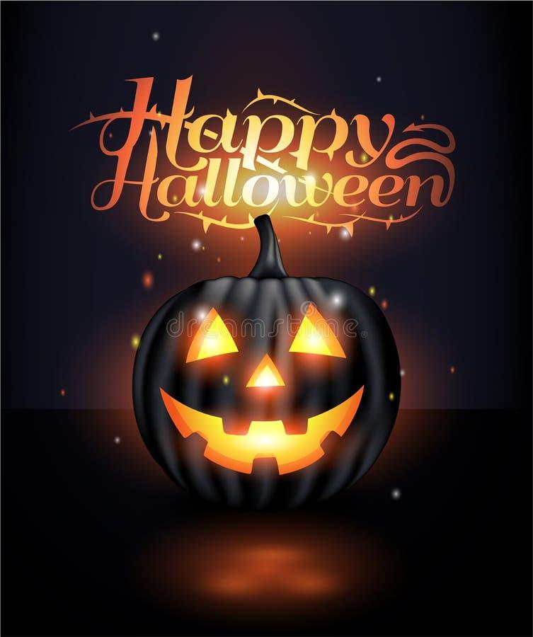 Темная реалистическая предпосылка хеллоуина фонарика jack o иллюстрация штока