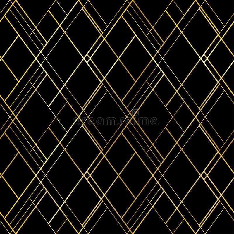 Темная роскошная безшовная картина Предпосылка вектора с золотыми перекрестными потоками Для наградного пакета стиля, обои иллюстрация вектора