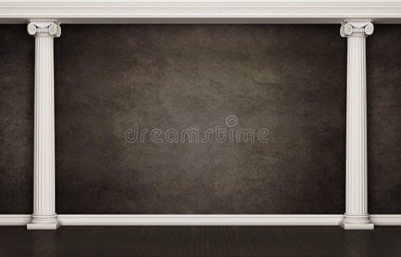 Темная стена с классическими столбцами стоковые изображения rf