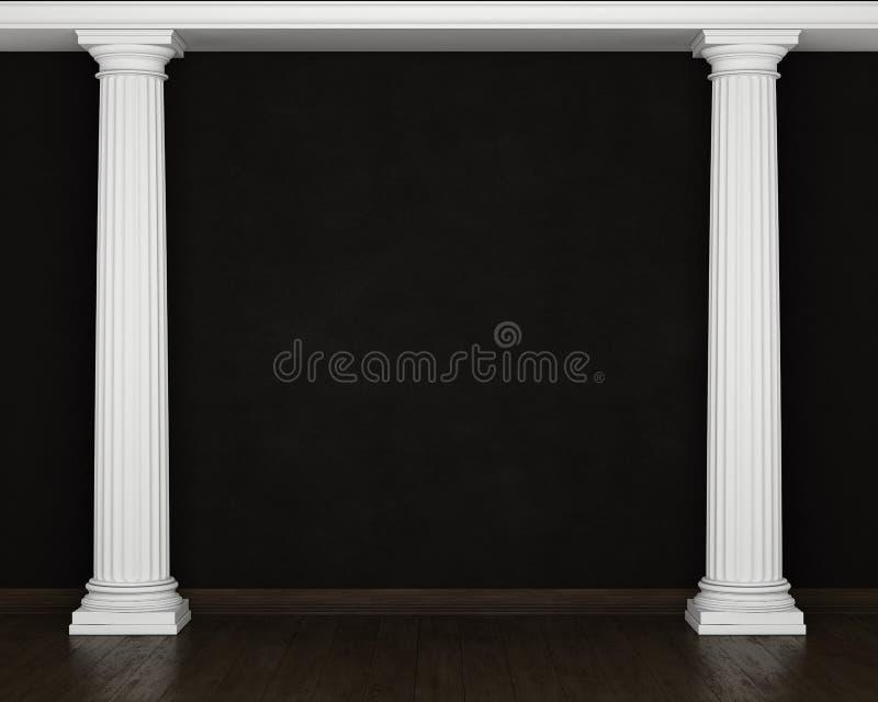 Темная стена штукатурки с классическими столбцами и деревянным полом иллюстрация вектора