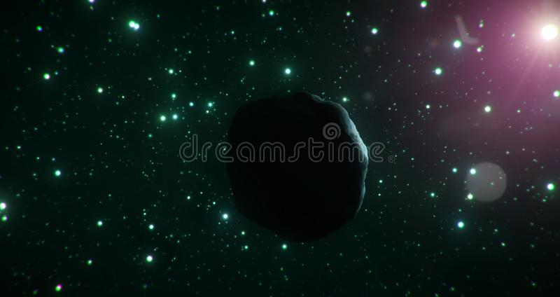 Темная сторона астероида льда путешествует через холодную ширь космоса на фоне зеленых звезд бесплатная иллюстрация