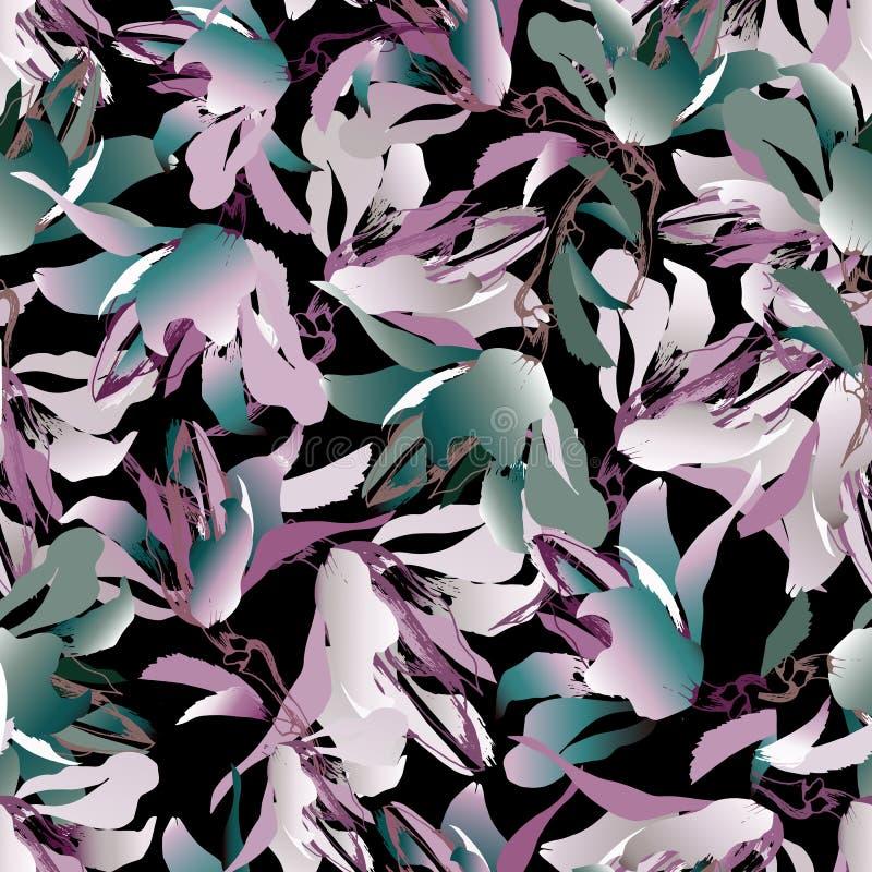 Темная флористическая предпосылка Пестротканые цветки на черной предпосылке Бесконечная текстура для ткани, обоев, плитки, бумаги иллюстрация штока