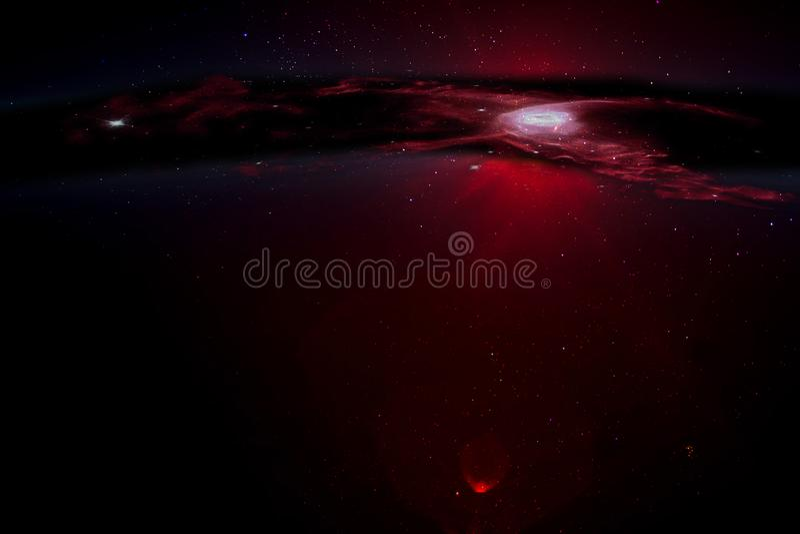 Темное звездное небо с черной дырой стоковое изображение
