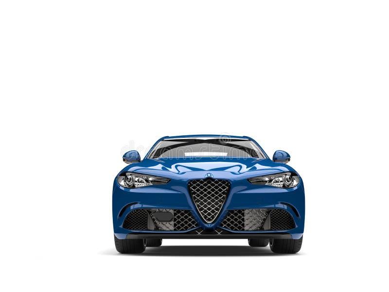Темное металлическое голубое современное быстрое автомобильное вид спереди бесплатная иллюстрация