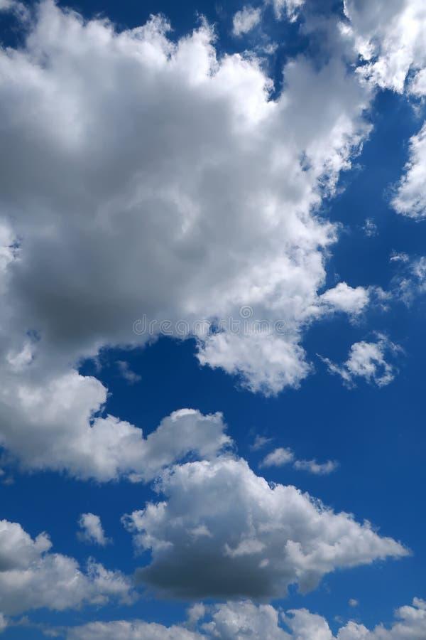 Темносинее небо и пушистые белые облака стоковые фото