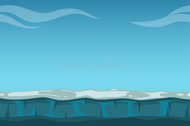 Темносинее небо над неподвижной предпосылкой океана иллюстрация вектора