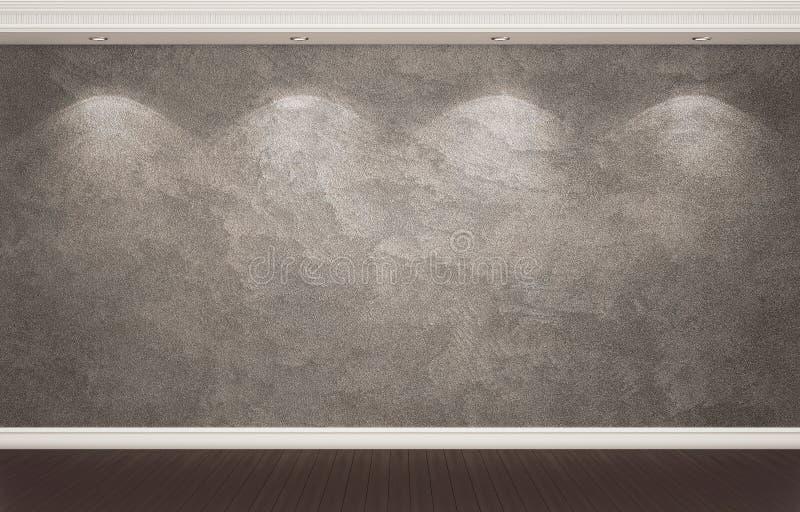 Темнота заштукатурила стена с классическими оформлением и фарами стоковая фотография rf
