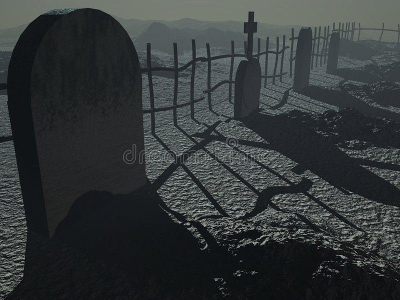 темнота кладбища иллюстрация вектора