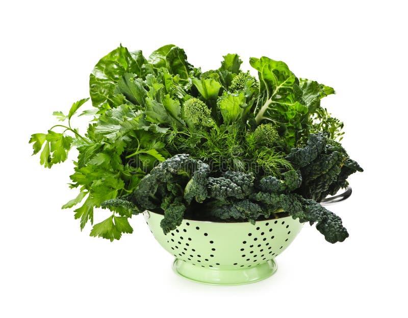 темнота colander - зеленые густолиственные овощи стоковая фотография rf