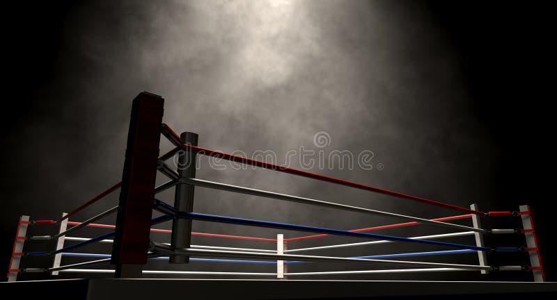 Темнота Spotlit боксерского ринга стоковое изображение rf