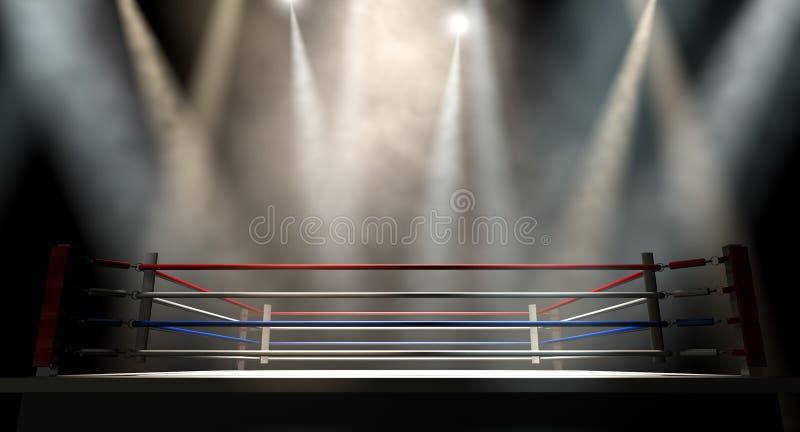 Темнота Spotlit боксерского ринга стоковые фотографии rf