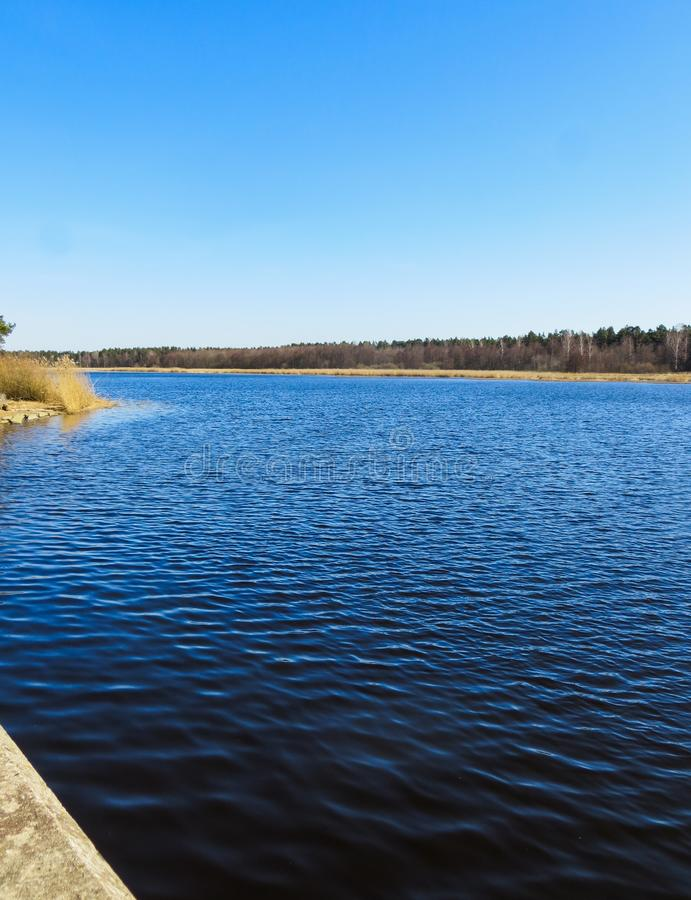 Темно-синая вода на реке Lielupe в Латвии в предыдущей весне стоковая фотография