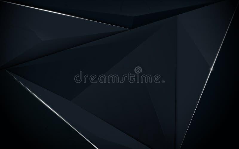 Темно-синее абстрактной полигональной картины роскошное с серебром иллюстрация вектора