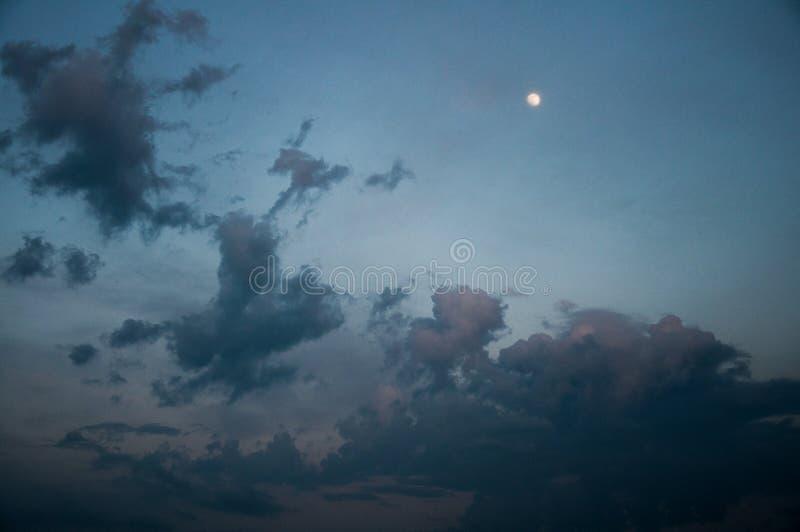 Темно-синее выравниваясь небо Молодая луна высока beautiful clouds стоковые изображения