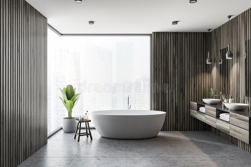 Темные деревянные интерьер, ушат и раковина ванной комнаты бесплатная иллюстрация