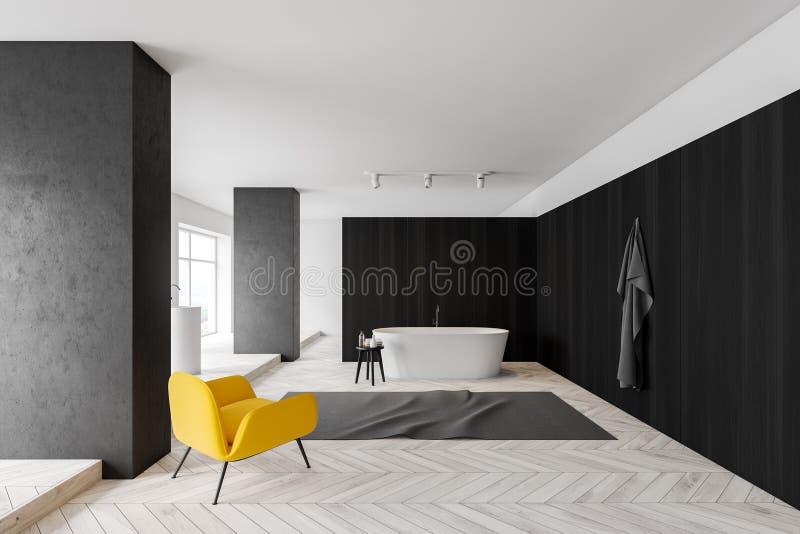 Темные деревянные интерьер, ушат и раковина bathroom бесплатная иллюстрация