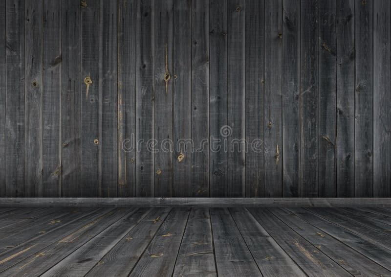 Темные деревянные стена и пол, текстура предпосылки иллюстрация штока