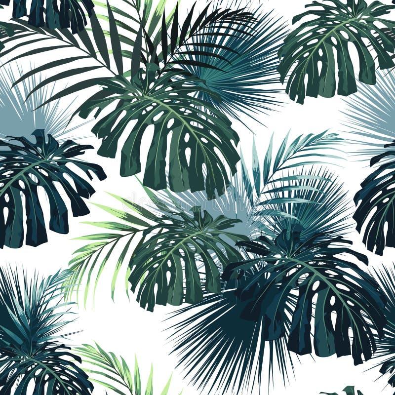 Темные и яркие тропические листья с заводами джунглей Картина безшовного вектора тропическая с зелеными листьями ладони и monster иллюстрация штока