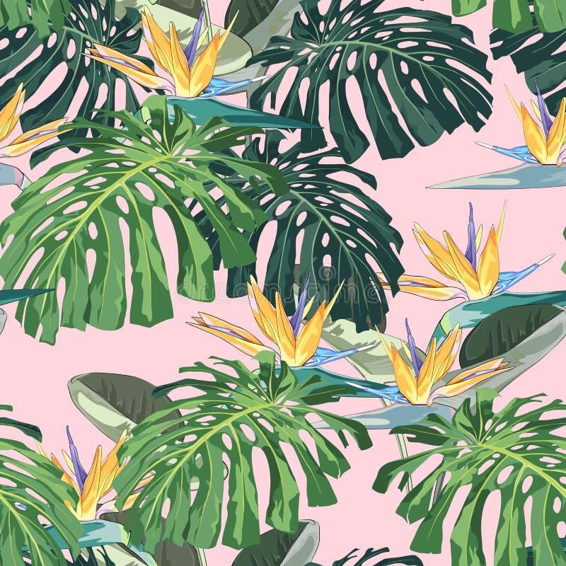 Темные и яркие тропические листья с заводами джунглей Картина безшовного вектора тропическая с зелеными листьями ладони и monster иллюстрация вектора