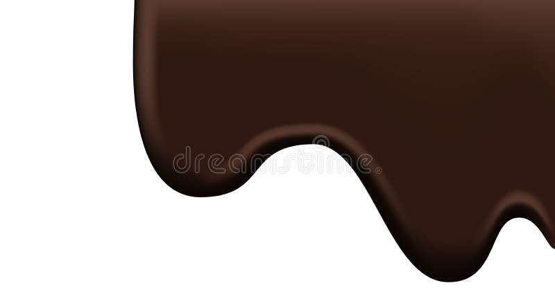 Темные коричневые потоки шоколада изолированные на белой предпосылке бесплатная иллюстрация
