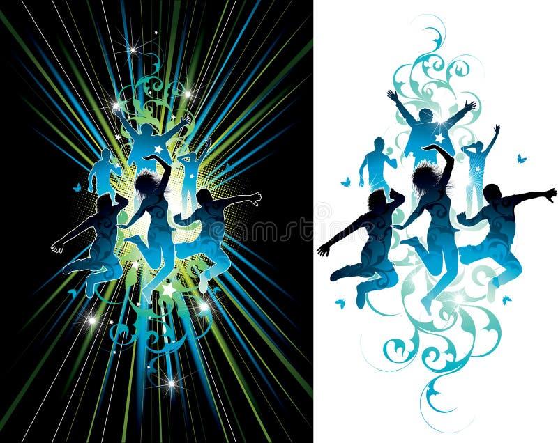 темные люди скача света иллюстрация штока