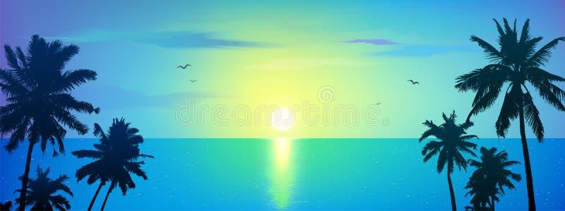 Темные силуэты пальм на голубой тропической предпосылке восхода солнца океана, иллюстрации вектора иллюстрация вектора