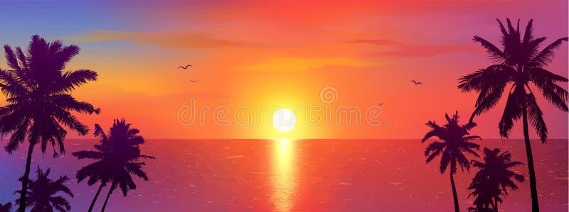 Темные силуэты пальм на красочной тропической предпосылке захода солнца океана, иллюстрации вектора иллюстрация вектора