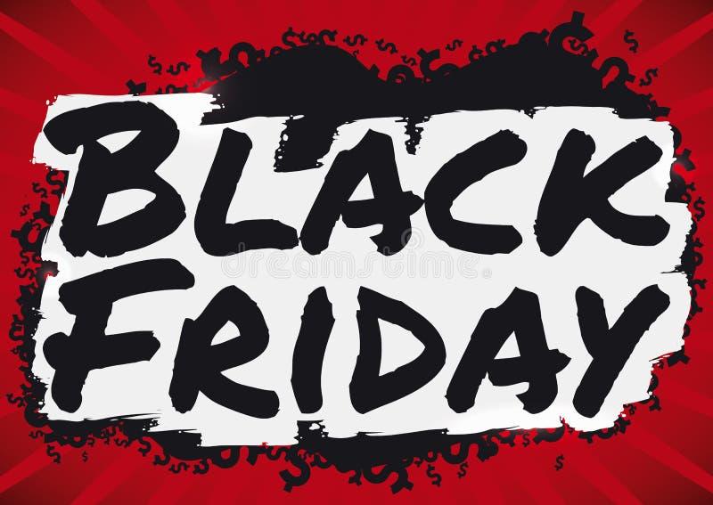 Темные символы денег и знак для черных продаж пятницы, иллюстрация Brushstroke вектора иллюстрация вектора