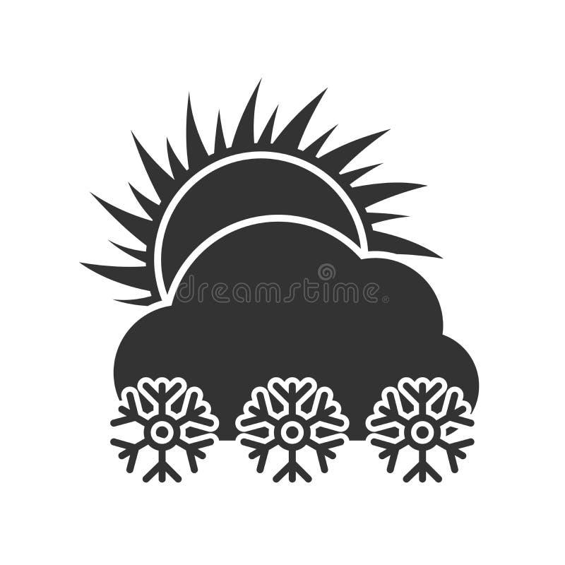 Темные снежности погоды в значке солнечного дня иллюстрация вектора