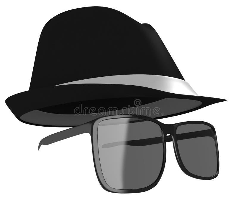 Темные стекла и маскировка черной шляпы для сыщика или шпионки иллюстрация штока